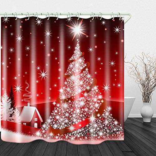 Christmas Tree Red Print Shower Curtain Waterproof Polyester Cloth & Rustproof Copper Buckle Non-Pollution Digital Printing 71 x 71 inches