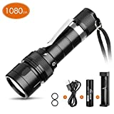 VOLADOR Dive Torch, 5 Modes 1080 Lumens Mini Diving Flashlight Rechargeable, SAMSUNG LH351D