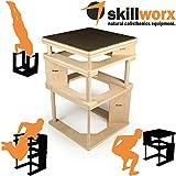 skillworx plyollettes Set–Raw Edition: 3in 1Plyo Box fino a 90cm, High parallettes e Dip...