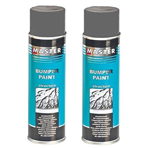 Troton Kunststoff Struktur Spray 2 x 500ml Grau Bumper Paint Structure Dunkelgrau Lack mit Acrylharz