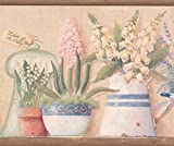 Pots de fleurs Rose Jaune Bleu en bordure de papier peint floral Design rétro, rouleau de 15'x 19,1cm
