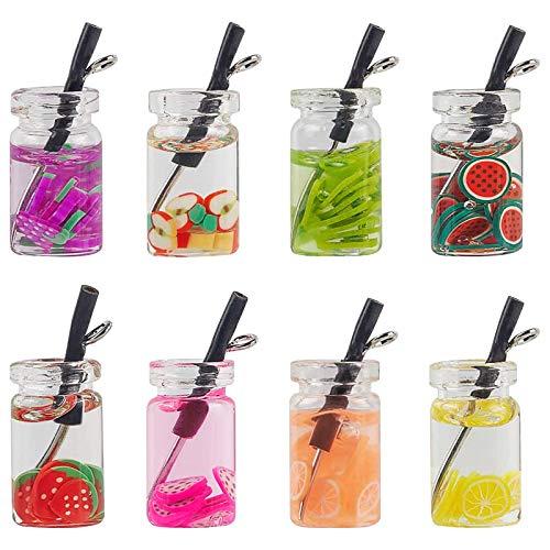 JuneJour Juego de colgantes de té de leche, con botella de cristal artificial, diseño de té de frutas, bebidas de resina, para manualidades, joyas, pendientes, llaveros, accesorios