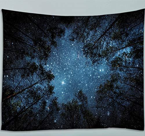 Amiiba Wald Sternenhimmel Wandteppich Bäume & Himmel Tapisserie Wandbehang Sterne Nacht Heimdekoration für Schlafzimmer Wohnzimmer (Baum, L – 200,7 x 150 cm)