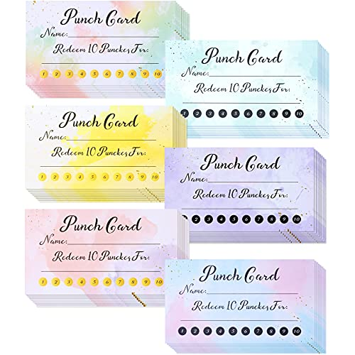 240 Pieces Watercolor Reward Punch Cards Customer Loyalty Cards Behavior Incentive Awards Business Card for Kids, Students, Teachers, Home Classroom Business Supplies