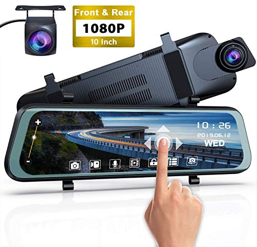 Dual Dashcam Full HD 1080P Autokamera Video Recorder mit 4 Zoll LCD-Bildschirm, 170°Weitwinkelobjektiv, WDR, G-Sensor, Bewegungserkennung, Loop-Aufnahme, Nachtsicht und Parkmonitor
