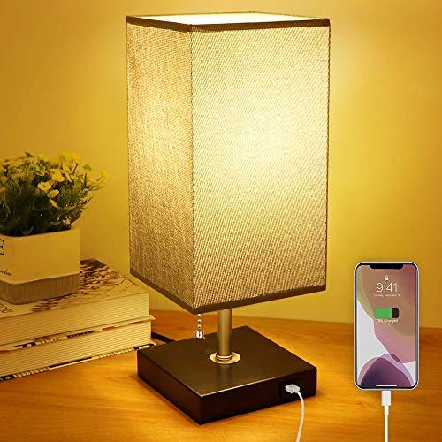 Depuley E27 Tischlampe mit USB Anschluss, Modern LED Nachttischlampe Kinderzimmer mit EU-Stecker & Zugschalter, Warmweiß 3000K, Schreibtischlampe aus Holz für Wohnzimmer Schlafzimmer Büro Eckig
