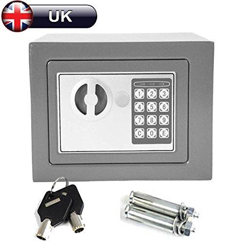 Digital Electronic Safe box 4.6l grigio di sicurezza cassetta portavalori in acciaio con 2chiavi da parete a pavimento per casa, ufficio, per conservare denaro gioielli preziosi