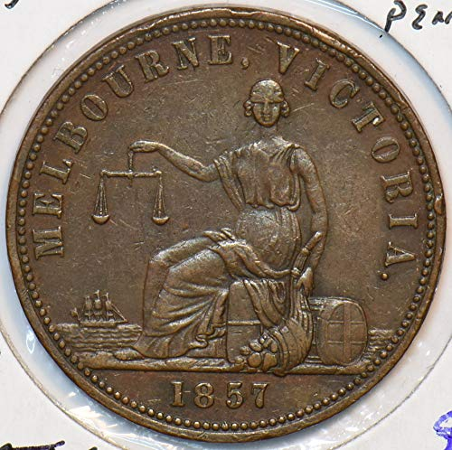 1857 AU Australia 1857 Penny Lion animal Token. De Carle 491020...