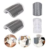 Cat Self Groomer Brushes with Catnip,Wall <span class='highlight'>Corner</span> Groomers Soft Grooming Brush Scratcher and Brush for Short Long Fur <span class='highlight'>Cats</span>, Softer Massage Toy for Kitten Puppy (2 Pack Grey)