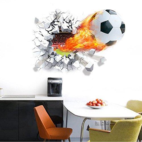 HALLOBO® Wandaufkleber XL 3D Fussball Fußball Sport Fenster Wandtattoo Aufkleber Wandsticker Kinderzimmer Kinder Baby Babyzimmer Jungen
