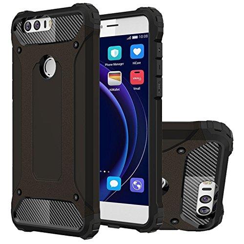 HICASER Huawei Honor 8 Custodia, Dual Layer Ibrida Rigida Morbido Armatura Resistente agli Urti Case Ibrida TPU +PC Bumper Frame Protettiva Custodia per Huawei Honor 8 Nero