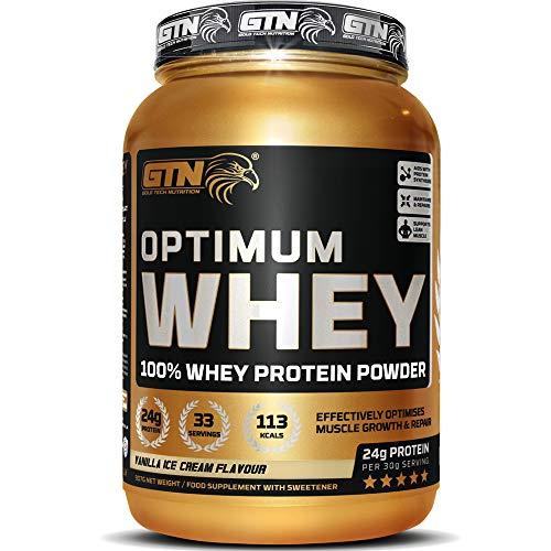 GTN - Optimum WHEY Protein   Gold Tech Nutrition Optimum Whey Protein Powder Muscle Building Supplements with Glutamine and Amino Acids (Vanilla Ice Cream, 907g)