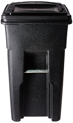 Toter 025532-R1209 Residential Heavy Duty Two Wheeled Trash Can with Attached Lid, 32-Gallon,...
