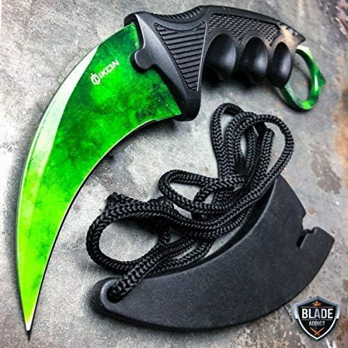 CSGO Green Gamma Doppler Karambit Hawkbill Full Tang Neck Knife w ABS Sheath Limited Edition product image