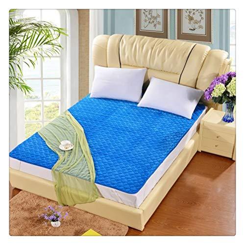 Aiglen Flanell Bettschutz Pad Matratzenschutz for Betten Solid Printed Flanellbezug auf der Matratze (Color : Blue, Size : 200x200cm)