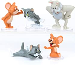 5 PCS Tom and Jerry Birthday Cake Topper Set Tom and Jerry Figures and Decorative Accessories