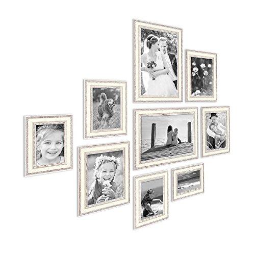 PHOTOLINI 9er-Set Bilderrahmen Shabby-Chic Landhaus-Stil Weiss 10x15 bis 20x30 cm inkl. Zubehör/Fotorahmen