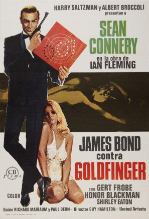 Goldfinger - James Bond - Sean Connery – Spanish Movie Wall Poster Print - 43cm x 61cm / 17 Inches x 24 Inches A2 007