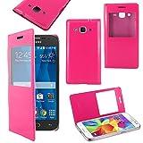 ebestStar - Funda Compatible con Samsung Galaxy Core Prime SM-G360F, 4G SM-G361F VE Carcasa Ventana Vista Cover Cuero PU, Funda Libro Billetera, Rosa [Aparato: 130.8 x 67.9 x 8.8mm, 4.5'']