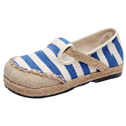 Mallimoda Damen Espadrilles Slipper Gestreift Low-top Schuhe Flatschuhe Blau EU 38.5/39=Asian 40