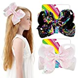 2pcs 8 Inches Large Hair Bows Alligator Clips Sequins Hair Barrettes Unicorn Hair Accessories for Kids Toddlers Teens (2)