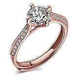Yumilok gioielli - Solitario classico in argento Sterling 925e zirconia cubica, taglio rotondo incastonato a 4 griffe, anello di fidanzamento regolabile per donne, placcato in oro rosa