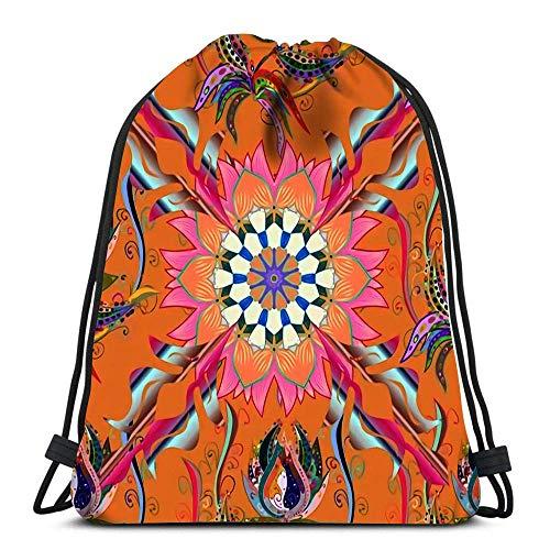 Arvolas Kordelzug Taschen Rucksack Mandala Mit Pfauenfeder Abstrakte Orientalische Rahmen Dekorative Farbige Folie des Reiserucksäcke