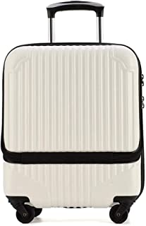 XLHJFDI Lightweight Business Trolley Case, Boarding Case,with TSA Password Lock,Universal Wheel Suitcase,ABS+PC Hard Shell Travel Case (Color : White)