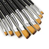 9 Pieces Artist Paint Brushes Nylon Angled Flat Paint Long Handle Value Set for Oils, Acrylic, Gouache & Watercolor Painting-Lightwish (Angled Flat Paint)