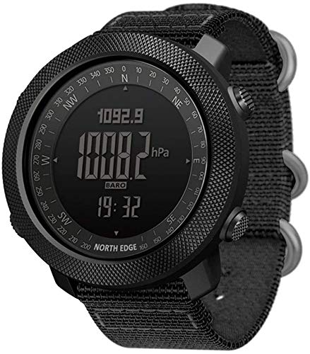 LQQZZZ Reloj Inteligente de los Hombres, Reloj táctica Militar Impermeable con retroiluminación LED brújula altímetro/barómetro/termómetro/Contador de Pasos adecuados para el Senderismo al Aire Libre
