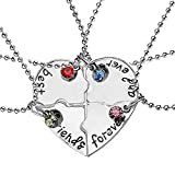 Elegant Rose, set di 4 collanine dell'amicizia, con ciondolo a forma di cuore, motivo 'Best Friends Forever and ever', regalo creativo per ragazze, in lega