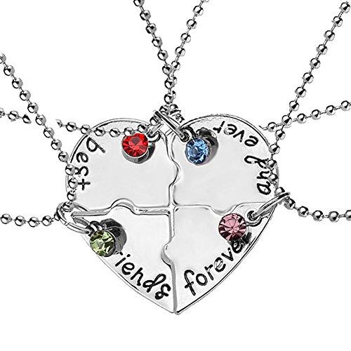 Elegant Rose Conjuntos de 4 Unidades Aleación Collares Best Friends Forever and Ever Mejores Amigos para Siempre con Patrón de Corazón Collar Creativo Regalo para Amigos Niñas