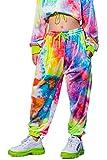 Filles Danse de Rue Hip hop Pantalon Streetwear Pantalon de Sport Cordon de Jogging(Arc-en-Ciel,11-12 Ans)