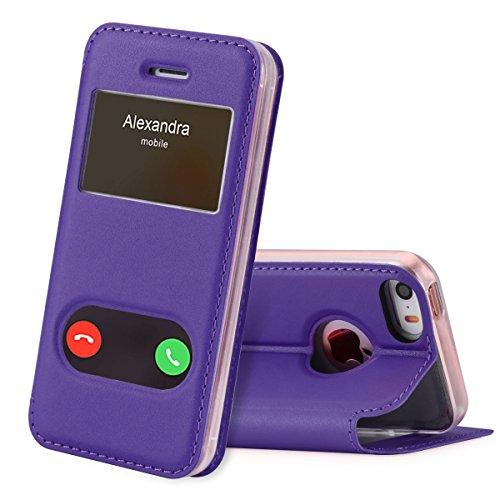 FYY iPhone se Funda, iPhone 5S, iPhone 5Móvil, Funda de Piel sintética ecológica de Calidad (Funda Carcasa Case Cover Funda) para Apple iPhone se/5S/5 A-Violett iPhone SE/5S/5
