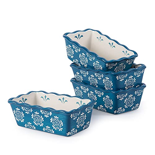 ORIGINAL HEART Mini Loaf Pan Ceramic Bread Pan Blue Baking Pan 4pcs Loaf Pans for Baking Bread 6inch Loaf Pan Nonstick Meatloaf Pan Mini Bread Baking Pan