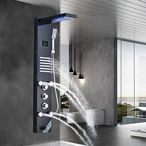 JUNSHENG LED Panel de Ducha Negro de Acero Inoxidable Columna con Pantalla LCD para Baño de Hidromasaje Ducha Moderna 5 Función Cascada Ducha Sistema de Torre de Panel de Ducha