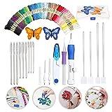 Juego de bordado de agujas de punto, kit de costura de punto de cruz y herramientas de costura para tejer, kit de bordado mágico, juego de herramientas de manualidades que incluye 50 colores