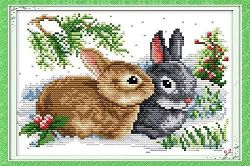 KAMIERFA Kit per Punto Croce Prestampato Punto Croce Kit,Ricamare Fai da Te Kit da Ricamo Completo per Principianti,Due Conigli 34x28 cm