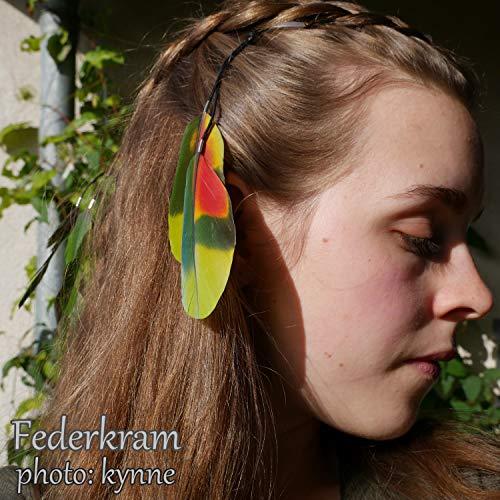 Grün Rot Papagei Feder Haar Extension, Haarschmuck Clips Haarspange Federschmuck Federkram handgemacht