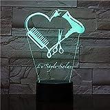 Tijeras de peluquero de diapositiva 3D Luz de noche LED nombre de peluquería personalizada tijeras de peluquero iluminación decorativa belleza regalo de peluquero