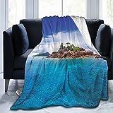 SURERUIM Soft Fleece Throw Blanket,Isla en Seychelles Coconut Journey Jungle Rocky Coast Waves Surface,Home Hotel Sofá Cama Sofá Mantas para Parejas Niños Adultos,75x125cm