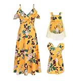 PopReal Mommy and Me Dresses Floral Print Cold Shoulder Ruffle Backless Strap Beach Midi Dress Summer Yellow