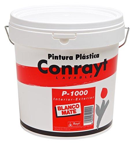 Rayt 404-28 Conrayt P-1000 Pintura plástica Blanca para Interior y Exterior de Acabado Mate, excelente Rendimiento, cubrición y blancura. Lavable. Suave al Tacto, 10litros