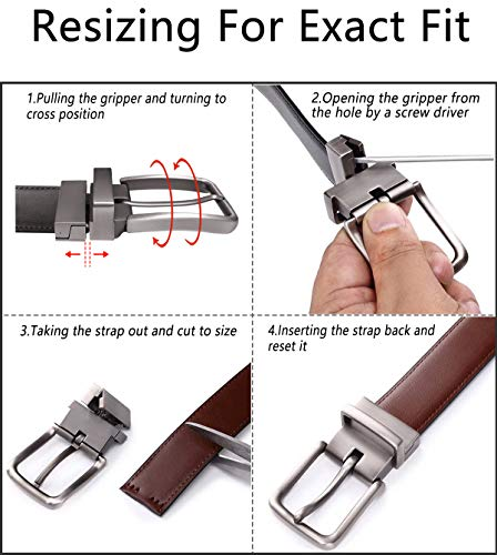 Men's Belt, Bulliant Leather Reversible Belt 1.25,One Belt Reverse for 2 Colors