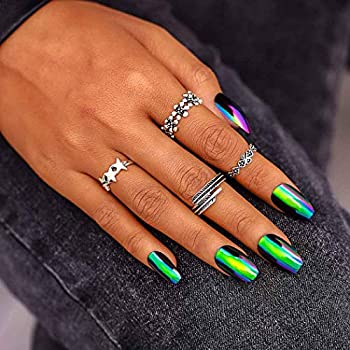 Campsis Glossy Coffin Fake Nails Green Long Press on Nails Metallic Mirror Effect False Nail for Women and Girls  Pack of 24