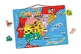 Janod - Puzzle magnético Mapa de España en madera, 50 piezas magnéticas, 40 x 30 cm, Juego educativo a partir de 5 años, J05478