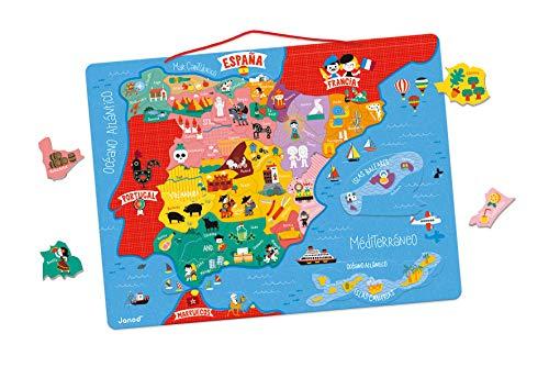 Janod- Mapa Magnético de España 50 Piezas, Multicolor, única (Juratoys J05478)