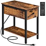 HOOBRO Side Table with Charging Station, Narrow Nightstand with Drawer & USB Ports & Power Outlets, End Table for Small Spaces, in Living Room, Bedroom, Wood Look Accent Table, Rustic Brown BF041BZ01