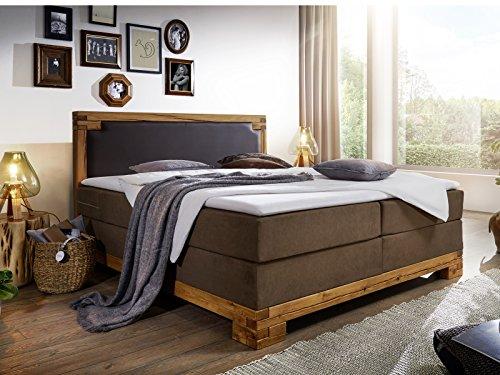 massivum Barrington Betten, Stoff, Braun, 210 x 180 x 115 cm