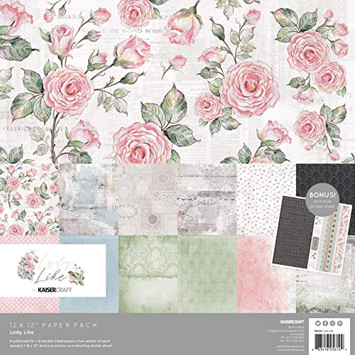 KAISERCRAFT PTY LTD (3PL) LADY LIKE Papier, 12 x 12 Stück